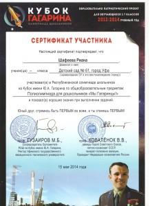 Сертификат Кубок Гагарина 1