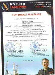 Сертификат Кубок Гагарина