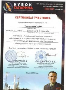 Сертификат Кубок Гагарина 9